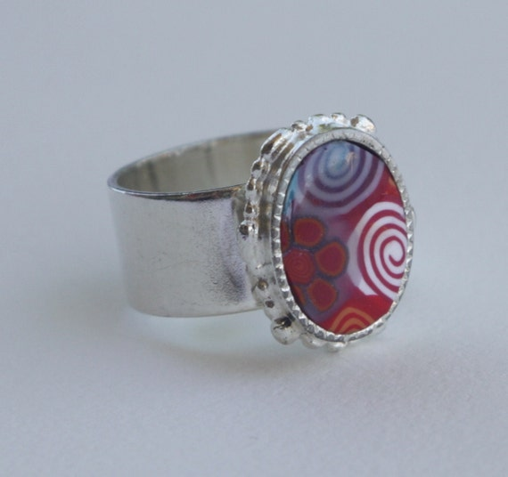 Ornate oval adjustable ring in red, orange and light turquoise, millefiori polymer clay