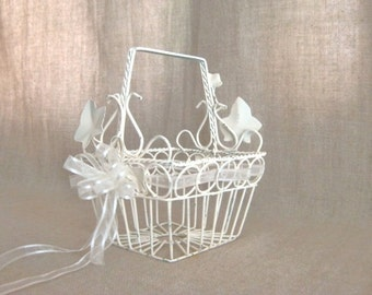 Summer Sale Dainty Metal Flower Girl Basket in Heirloom White / Shabby Petite  Basket in Heirloom White