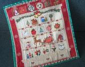 Fabric Advent Calendar Santa's Sleigh, Christmas Wallhanging, Christmas Decoration,