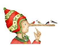 Print Pinocchio and birds Illustration print 8x11