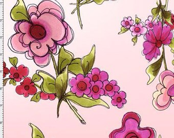 NEW Loralie Designs Jumbo Pink Floral fabric- 1 Yard