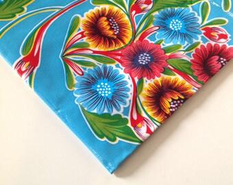 Square Bloom Light Blue Tablecloth or Splat Mat