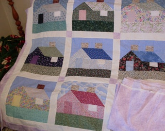 Free Shipping  House on the Hill 90 x 105.  Quilt top, border and backing. Light Lavender