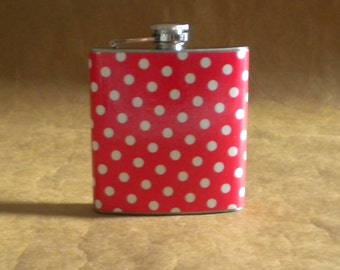 Sale Red and White Polka Dots Print 6 ounce Stainless Steel Gift Flask KR2D 6891