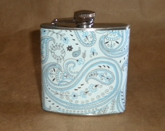 SALE Price Reduced Light Blue with Black Paisley Print 6 ounce Stainless Steel Gift Flask KR2D7010
