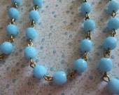 Bead Chain Rosary Chain Light Blue Turquoise 6mm Fire Polished Glass Beads on Brass Beaded Chain - Qty 18 Inch strand