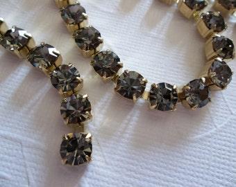 6mm Grey Rhinestone Chain - Brass Setting - Black Diamond Gray Czech Crystals- Large Crystal Size 29SS