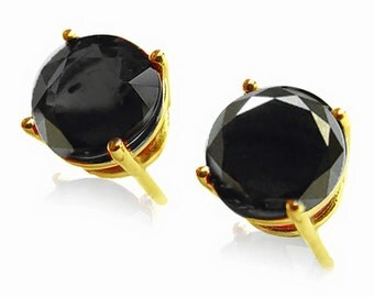 14k yellow gold earrings  black diamonds