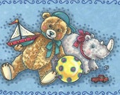 Teddy Bear & Stuffed RHINO Toys In The Attic Friends Art ACEO Susan Brack EBSQ