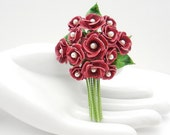 Vintage Rose Bouquet Brooch with Pearl