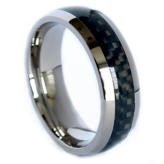8mm ring wedding band black carbon fiber inlay design unique dome band