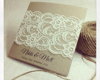 60 x Rustic Wedding Invitation & response card - Rustic Vintage Lace