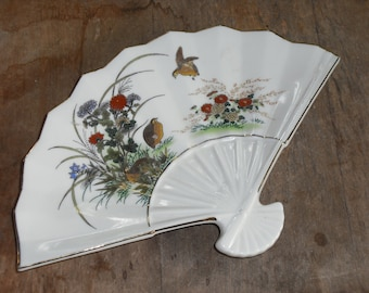 Vintage Otagiri Japan Candy Dish Fan Shape Bird Flowers Gold Trim Design Home Decor Wedding Gift Serving
