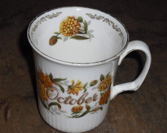 Clearance Vintage Golden Crown E R Fine Bone China England October Birthday Cup Mug Gold Calendula Flowers Bouquet Series Home Decor Gift