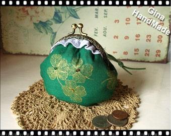 Green Clover Coin purse / kiss lock pouch / Coin Wallet /Pouch / Kiss lock frame bag-GinaHandMade