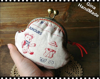 Teddy Bear  Metal frame purse / coin purse / Coin Wallet / Pouch / Kiss lock frame bag-GinaHandMade
