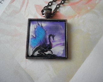 Dragon with Blue Wings Necklace