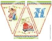 Digital PRINTABLE Vintage Animals Farm House Pig Sheep Chick Boy Girl Birthday Farmer Tea Party Nursery Banner Flag Burlap Sheet Image Sh313