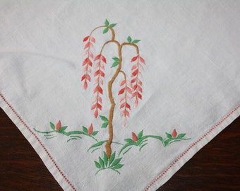 Vintage Linen Luncheon Tablecloth Table Topper Apricot Mint Embroidery