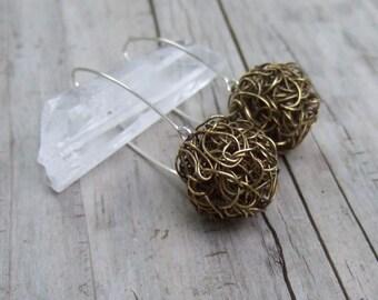 Modern Earrings - Mixed Metal - Wire Crochet Earrings - Rustic Jewelry - Antique Brass Earrings- Crochet Wire Jewelry- Brass Dangle Earrings