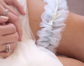 Pale Blue Tulle Garter with String of Ivory Pearls SINGLE
