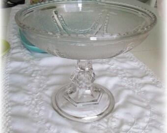 Vintage Crystal Pedestal Candy Bowl