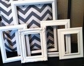 Vintage Shabby Chic  Frame Lot of 5 in white