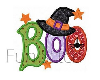 Halloween boo witch hat applique machine embroidery design