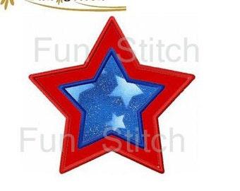 July 4th star applique machine embroidery design
