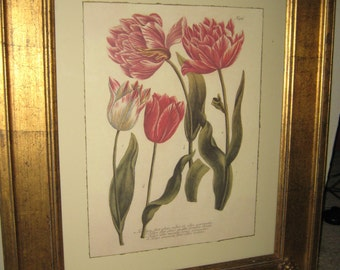 Vintage Framed Floral Art SHABBY CHIC Gold Gilt Frame