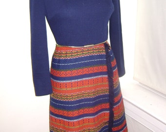 1960s vintage, blue multi colored dress womens small