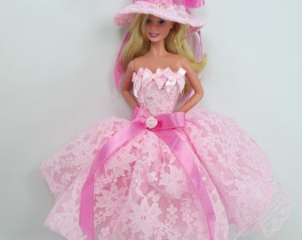Barbie Doll Fashion flower Gown Dress and hat Royalty W39