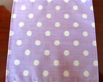 NapM1431E Set of 8 Lavender and White Polka Dot Cotton Napkins, Fun, Party, Eco Friendly