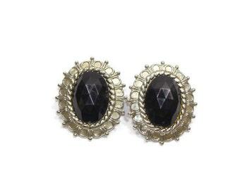 Vintage Black Acrylic Oval Shape Earrings