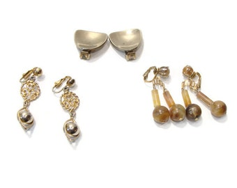 Lot of Three Pair Vintage Gold and Bronze Bead clip on Earrings