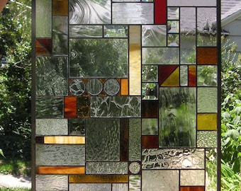 """Mission Style Clear and Warm Tones --22 3/16"""" x 45 5/16""""-- Stained Glass Door Panel"""
