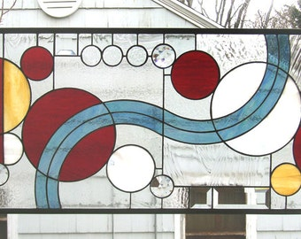 """Sixteen Circles Study in Color - 16"""" x 30""""-- Stained Glass Window Panel"""