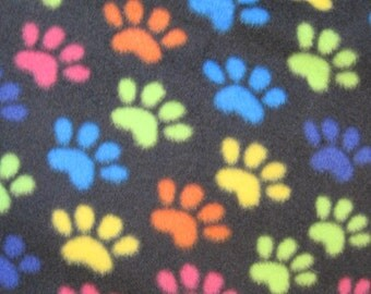 Paw Prints on Black with Orange Handmade Fleece Blanket - This Blanket is Ready to Ship Now