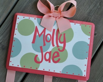 HairBow Holder - Coral Green and Light Blue SIMPLICITY Design - Large - Handpainted and Personalized Bow Holder