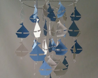 White and Dark Baby Blue Sailboat Mobile Can be custom to your colors Photography Prop