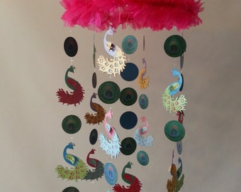 Bright Colorful Peacock Glitter Baby Mobile Photography Prop