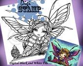 PRINTABLE Digi Stamp Bookworm Fairy Coloring Page Fun Fantasy Art Hannah Lynn