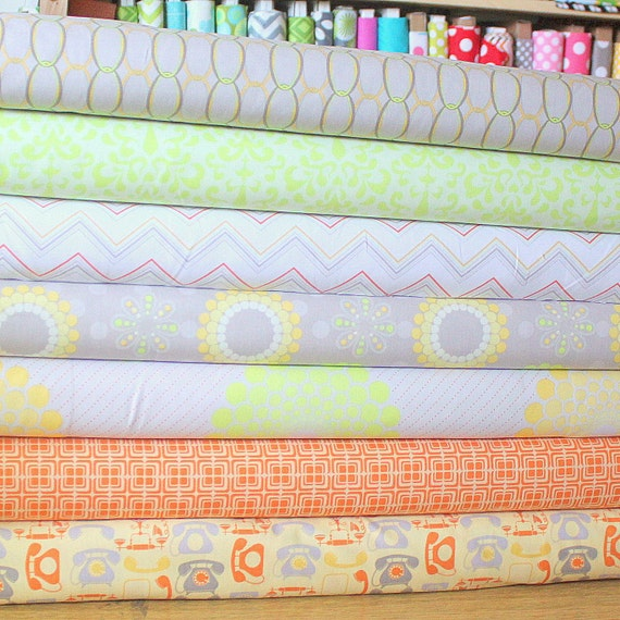 Gray Green and Orange Floral Fabric, Ashbury Heights By Doohikey Designs For Riley Blake, 1 Yard Bundle, 7 Print Total