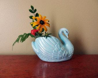 Iridescent Blue Swan Planter