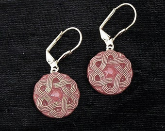 Mid Century Red Glass Button Earrings