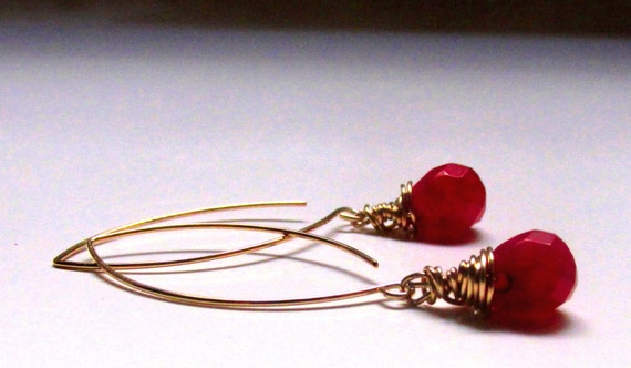 Ruby Drops on 14k Gold Filled Earwires