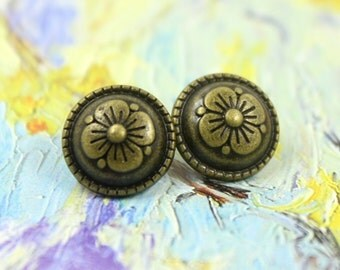 Metal Buttons - Flower Metal Buttons , Brass Color , Domed , Shank , 0.43 inch , 10 pcs