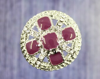 Metal Buttons - Exquisite Rhinestone and Purple Lattice Crown shape Silver Shank Metal Buttons, 2 pcs, 1 inch.