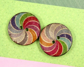 Rainbow Buttons - Rainbow Spiral Coconut Buttons. 1 inch.6 in a set