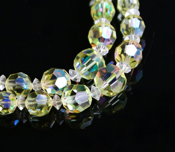 Vintage Yellow Aurora Borealis Crystal Necklace Layered